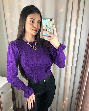 Tricot  Babados - Lurex - Violeta