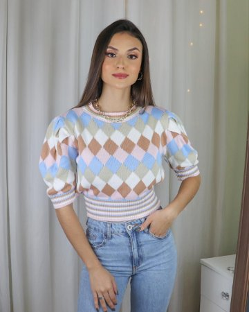 Cropped tricot escocesa
