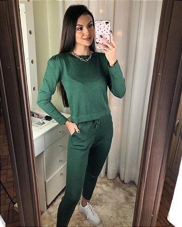 Conjunto tricot princesa - verde militar