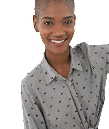 Camisa Feminina  Estampada Cinza  Hering