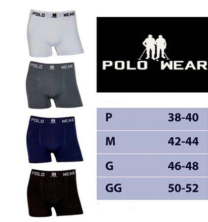 Kit com 4 Cuecas Boxer Poliéster Elastano Polo Wear