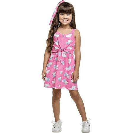 Vestido Infantil Femino Corações 10150593 Kely & Kety