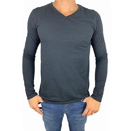 Camiseta Masculina Manga Longa Decote V H60182