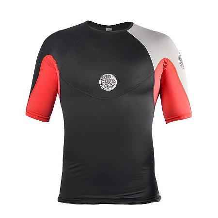 Camisa de Lycra Rip Curl Ebomb Preta/Vermelha