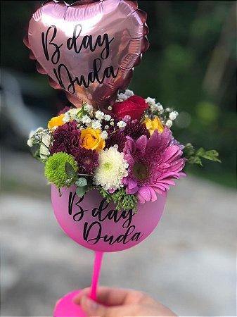 Taça personalizada floral com Balão