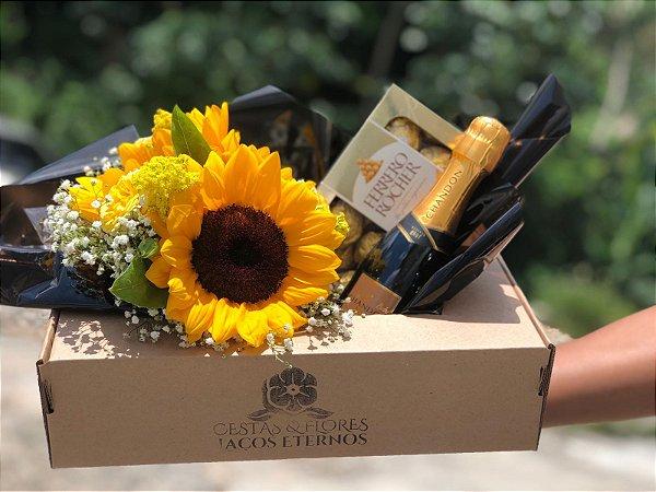 Gift Box com Girassol e Chandon