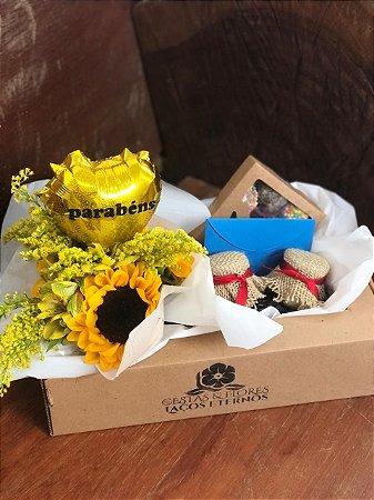 Gift Box Delicias Com girassóis