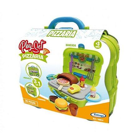 Brinquedo Playset Pizzaria - 3 Em 1 - 30 Peças - 10854 - Xalingo