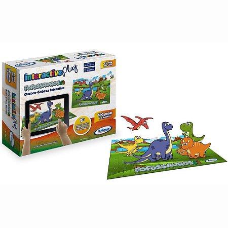 Interactive Play Fofossauros - 100 Peças - Madeira - Multicolorido - 53254 - Xalingo
