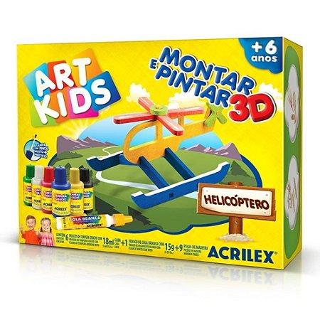 Montar e Pintar 3D - Helicóptero Art Kids 40016 - Acrilex