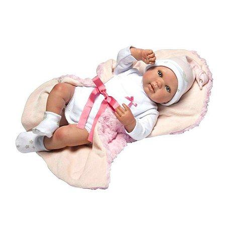 Boneca Bebê Reborn Olhos Abertos Roupa Rosa 1267 - Baby Brink