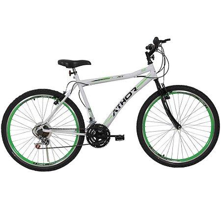 Bicicleta Aro 26 18M Jet Branco e Verde - Athor