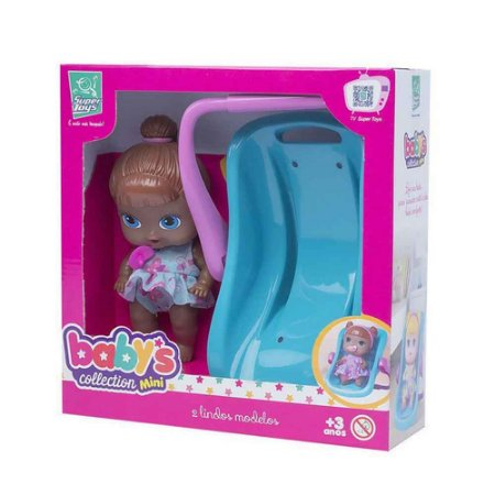 Boneca Babys Collection Mini Negra Bebê Conforto - Super Toys