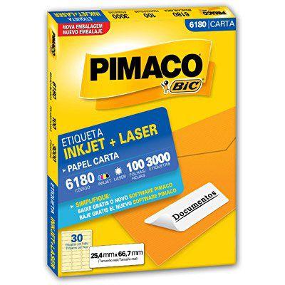 Etiqueta ink-jet/laser Carta 25,4x66,7 - 3000 unid. 6180 - Pimaco
