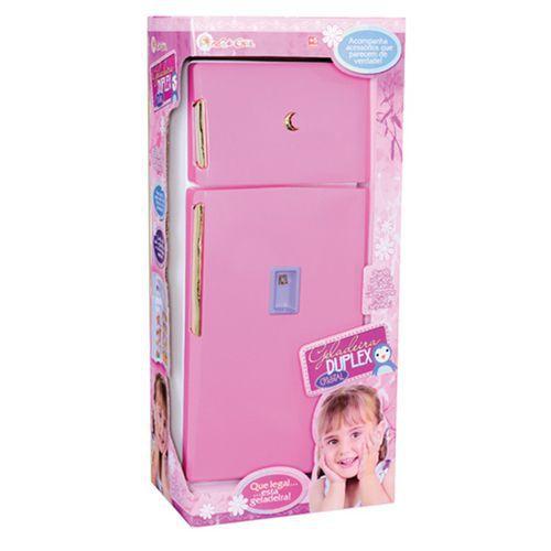 Geladeira Duplex Infantil Branco/Rosa 203 - Lua De Cristal