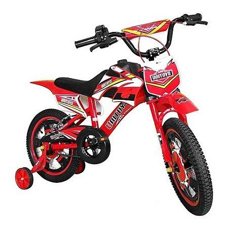 Bicicleta Infantil Aro 16 Moto Cross Vermelha 1172 - Unitoys