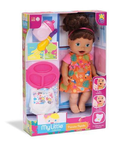 Boneca Primeira Papinha Morena My Little Collection 8105 - Divertoys