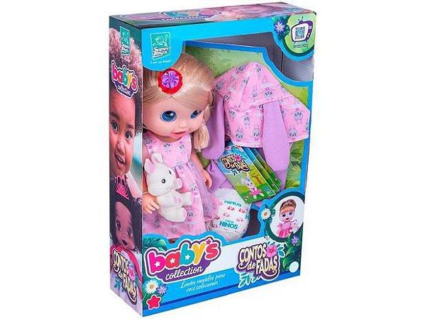 Boneca Babys Collection Contos de Fadas Loira com Acessórios 385 - Super Toys