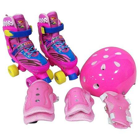 Patins Roller Infantil 4 Rodas + Kit Proteção 1321 - Unitoys