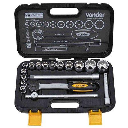 Jogo de Soquetes Estriados Encaixe 1/2 Pol. 10mm a 32mm com 18 Peças - VONDER-3029010032