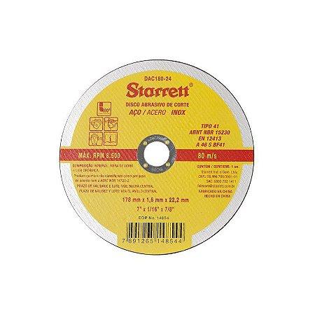 Disco Abrasivo de Corte 178 x 1,6 x 22,2mm - STARRETT
