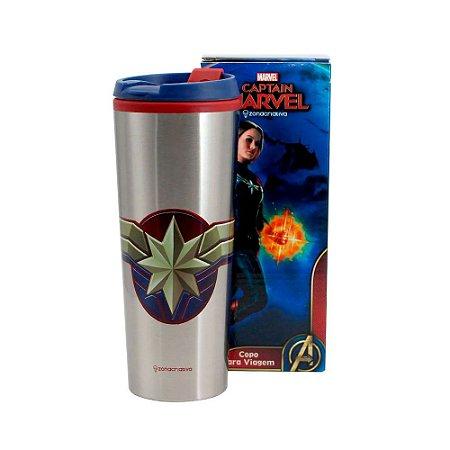 Copo Viagem Capitã Marvel Vingadores