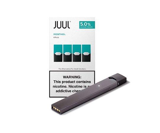 PROMOÇÃO COMBO JUUL - 1 DEVICE SILVER + 1 REFIL MENTHOL (PACK OF 4)