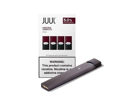 PROMOÇÃO COMBO JUUL - 1 DEVICE GRAFITE + 1 REFIL VIRGINIA TOBACCO (PACK OF 4)