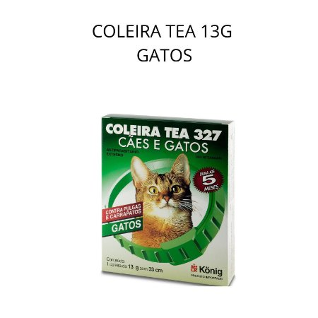 COLEIRA ANTIPULGA E CARRAPATO TEA P 33CM GATOS