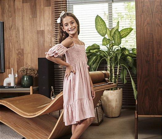 Vestido Estampa Grid Cor Rosa Seco Com Elastec no Peito