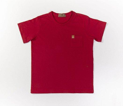 Camisa Infantil Gola Careca Malha com cheiro cor vermelha