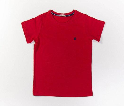 Camisa Infantil Gola Careca Malha Flamê Cor Vermelha