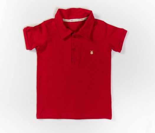 Camisa Gola Polo Infantil Cotton Cor vermelha
