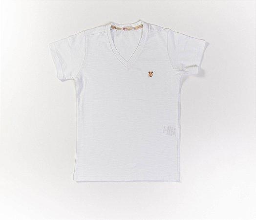 Camisa Infantil Gola V Malha Flamê Cor Branca