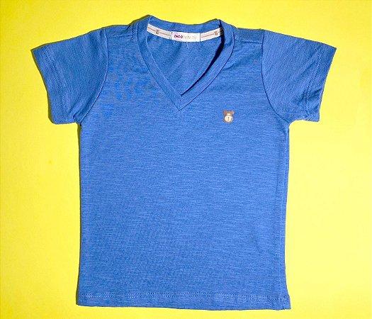 Camisa Infantil Gola V Malha Flamê Cor Azul claro