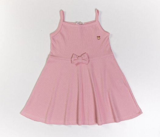 Vestido Evasê Infantil Malha Canelada Rose