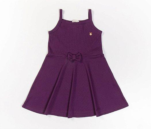 Vestido Evasê Infantil Malha Canelada roxo