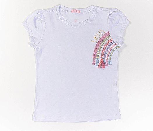 Conjunto Infantil Meia Malha com Short Tactel estampa arco-íris cor braco