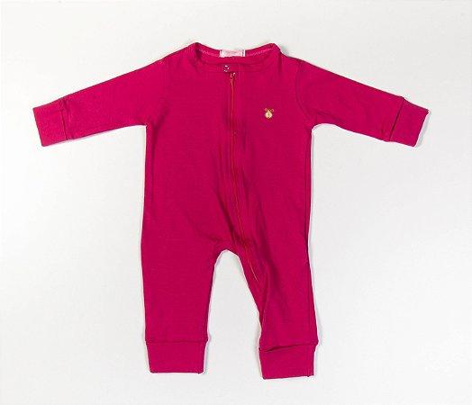 Macacão Longo Bebê com Zíper Cotton Cor Rosa escuro