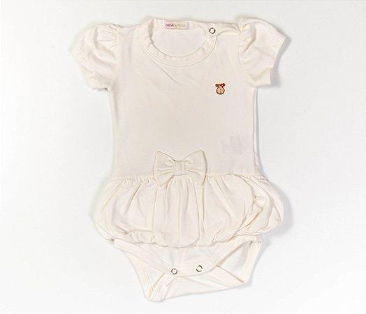 Body bebê Saia Balonê Cotton Cor Bege