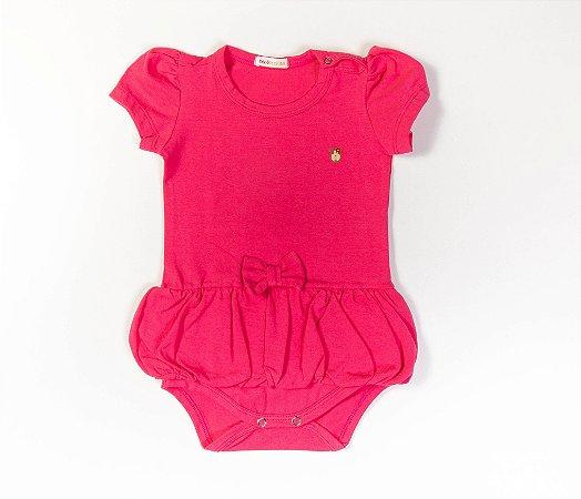 Body bebê Saia Balonê Cotton Cor Rosa