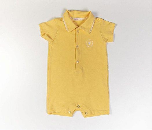 Francês Bebê Polo Malha Piquet Amarelo