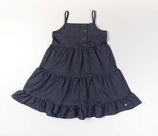 Vestido Infantil em Camadas Malha Denin Azul