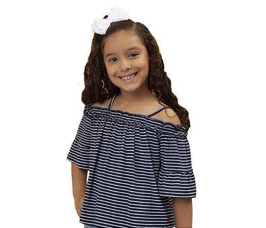 Blusa ciganinha Infantil azul, muita fofura e estilo para as pequenas.