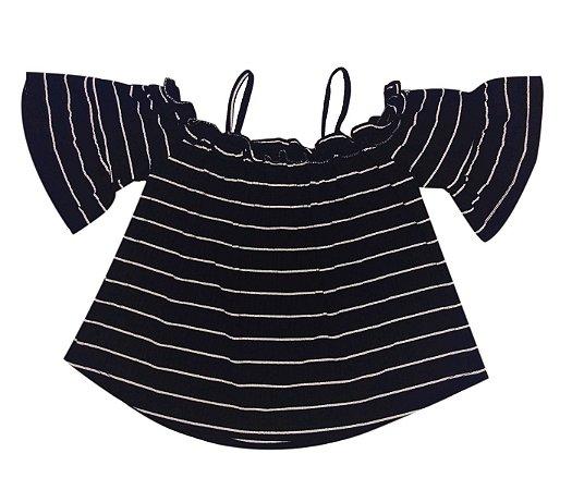 Blusa ciganinha Infantil preta, muita fofura e estilo para as pequenas.