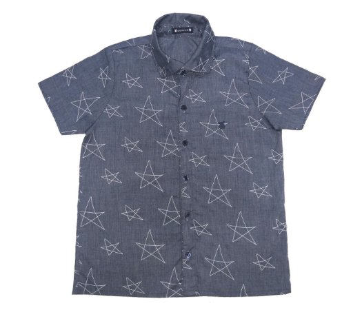 Camisa social infantil manga curta azul, muito estilo para os pequenos.
