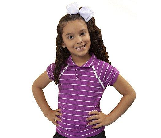 Blusa Gola Polo Infantil Raglan rosa, muita fofura e estilo para as pequenas.