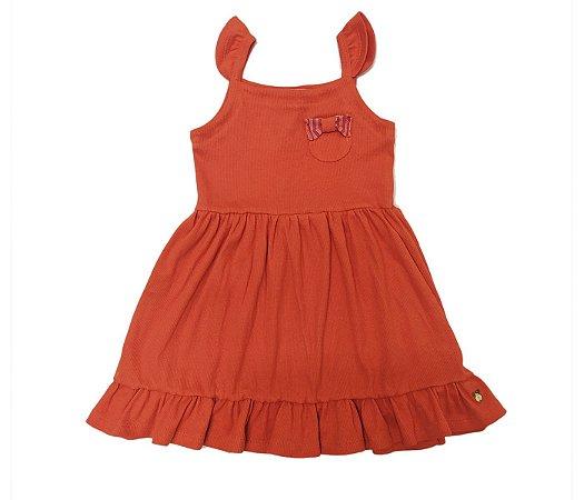 Vestido infantil laranja básico cheio de estilo.