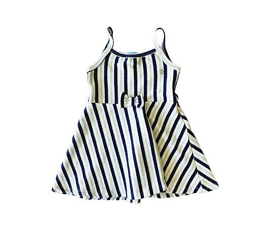 Malha Vestido infantil cheio de estilo cor azul