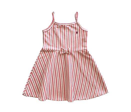 Malha Vestido infantil cheio de estilo cor rosa